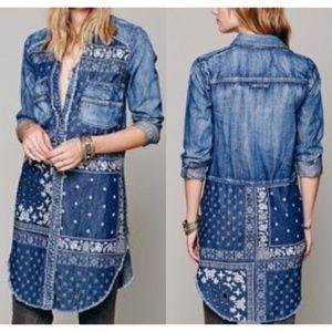 Free People Denim Patchwork Shirt Dress Tunic L